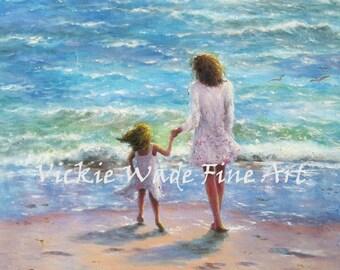 Mother Daughter Beach Art Print, beach girls paintings, children on beach, beach art, beach wall art, aqua, beach girl, mom, Vickie Wade Art