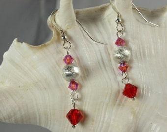SALE Red and Pink Crystal Earrings, Sterling Silver Earrings
