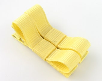 Banana Yellow Hair Clips Basic Tuxedo Bow - Set of 2 -  Matching Pair Alligator Barrettes for Babies Toddlers Girls