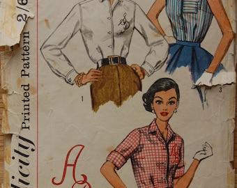 "1950s vintage Simplicity original sewing pattern women's shirtwaist blouse bust 32"""