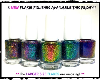 Mega Size Flakies (3rd release)  :  Custom-Blended Indie Glitter Nail Polish / Lacquer