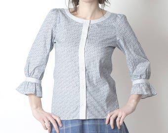 Pale grey womens shirt with ruffled sleeves, grey floral cotton shirt, Womens clothing, Button down shirt, Womens shirts, Size UK 10, MALAM