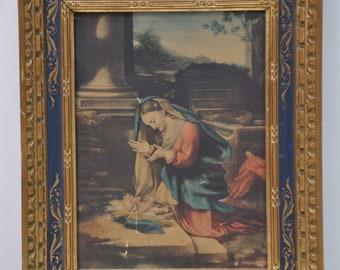 Vintage Florentine Italian Icon, Holy Family Madonna Mary, Antique Catholic Christian Icon, Florentine Gold Gilt Frame, Made in Italy