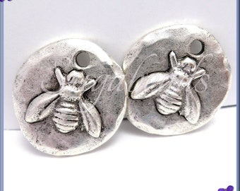 2 Antique Silver Bee Charms, Round Bee Charms, Organic Bee Charms, Hammered Bee Charms, Silver Bee Charms, NND2