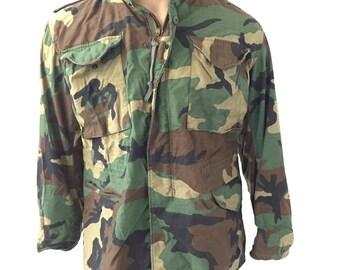 Men's Vintage Camo Military Army Coat (Medium, Med Short)