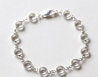 Clear Crystal Bracelet, Diamond April Birthstone Jewelry, Silver, Swarovski Crystal Jewelry, Crystal Clear April Birthstone Bracelet