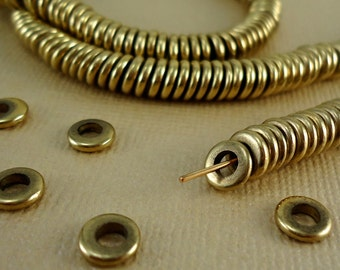 200 Solid Brass Beads Disk 6mm Heishi Flat Round rondelles disc Spacer Big Large Hole 3mm Loose Metal Brass washer Natural beads