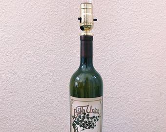 Wine bottle lamp, Upcycled wine bottle lamp, Bar wine bottle lamp, Cellar wine bottle lamp: Bella Union