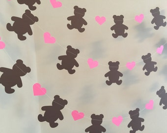 Teddy Bear Picnic Birthday Decorations - Pink Teddy Bear baby shower Garland - Teddy Bear Baby shower Decor- Teddy Bear 1st Birthday decor