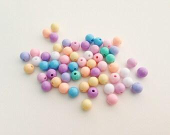 10 mm round plastic pastel bead - 100 pcs