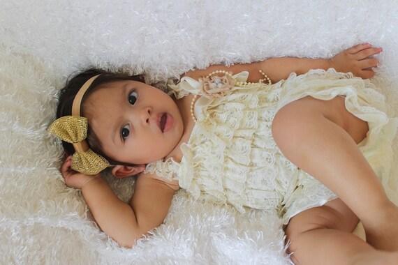 Baby Rompers, Newborn Romper, Ivory Romper, Baby Romper, Infant Romper, Elegant Romper, Baby Girl Clothes, Rompers for Girls, Elastic Romper