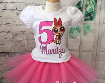 blossom birthday outfit, blossom tutu, powerpuff girls birthday outfit, powerpuff girls birthday shirt, powerpuff girls tutu