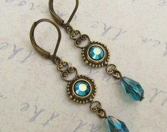 Indicolite Teal Crystal  Antiqued Brass Filigree Leverback Earrings
