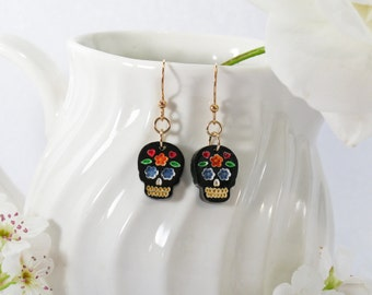 Multicolor Blue and Orange Hand-Painted Black Sugar Skull Drop Earring