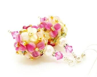 Pink Earrings, Floral Earrings, Lampwork Earrings, Lampwork Flower Earrings, Glass Beads Earrings, Lampwork Earrings Sterling Silver