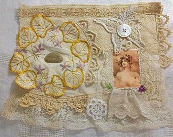 PEACH CHIFFON LADY Collage Hand Sewn Upcycled Fabric Art, Ivory Cream Laces Tatting, Gold Leaf Embroidery Violets Silk Image, Carved Jade