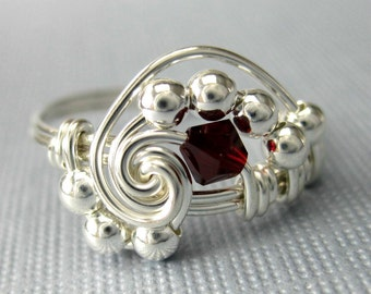 Pi -- Wire Wrapped Birthstone Ring with Swarovski Crystal and Sterling Silver -- All Birthstones and All Sizes Available