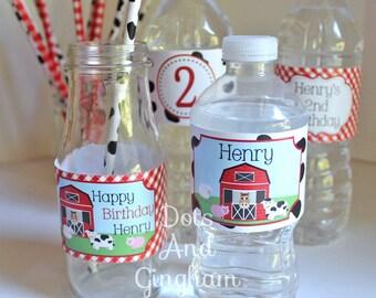 Farm Water Bottle Labels Printable Barn Water Bottle Labels Farm Drink Wrap Printable Farm Water Bottle Labels Printable Barn Water Wraps