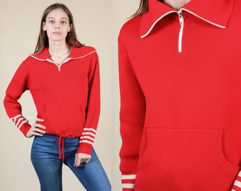 80s Zip Up Sweater // Vintage Striped Red Collared Sporty Pullover - Medium