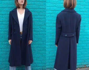 Vintage blue cashmere coat | Maxi wool tailored coat | Double breasted long winter coat | Size S