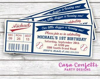 Baseball Birthday Invitation, Baseball Invitation, Baseball Ticket Invitation, Baseball First Birthday Invitation, Printable Invite