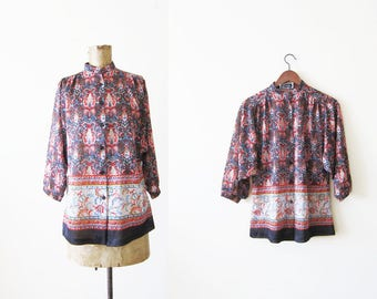 60s blouse - peasant blouse - bohemian top - boho shirt - paisley blouse - 1960s clothing - dolman sleeve - gypsy shirt - S M