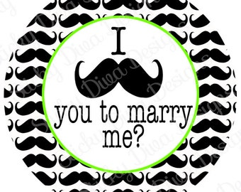 PERSONALIZED STICKERS - Custom Mustache you to Marry Me- Monogrammed Labels - Round Gloss Labels