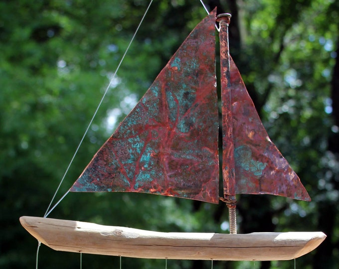 Copper And Driftwood Windchime - Seven Sailing Spoonfish, Wooden Sail Boat, Driftwood Sculpture, Aged Copper, Sailing Ship, Brass And Copper
