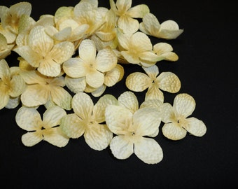 Silk Flowers - 100 Hydrangea Blossoms in Banana Yellow -Artificial Flowers