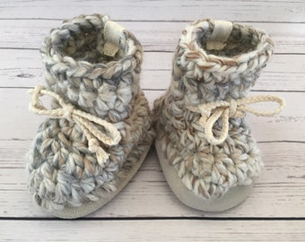 Baby Slippers/ Booties in Fossil