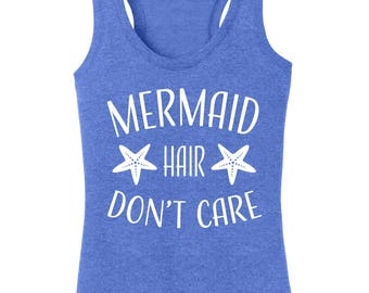 Mermaid Hair Don't Care Women's Graphic Racerback Tank Top