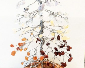 Chakra Pine Gem Tree, Tree of Life, Wire Tree Sculpture, Reiki Healing, Healing Gifts, Meditation Gifts