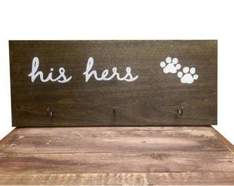 His Her's Dog Sign, Key Rack Sign, Dog Leash Rack Sign, Paw-prints Sign, Home Decor, Dog Decor, Key Rack, Hat Rack, Coat Rack