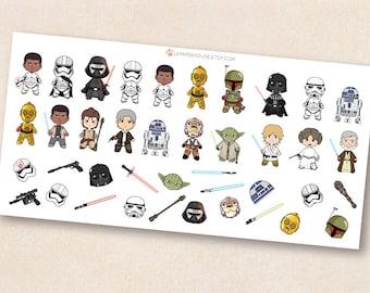 Star Wars Stickers, Chibi kawaii Star Wars characters ,illustration stickers, erin condren, life planner