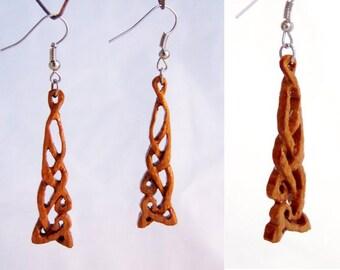 Earrings made of cherry wood