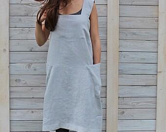 Japanese Apron / Pocket linen apron / Pinafore/ greyish blue