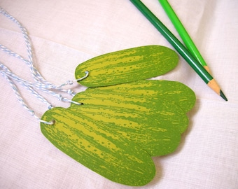 green pickle gift tags with bakers twine - set of five - for the pickle loving enthusiast in your life