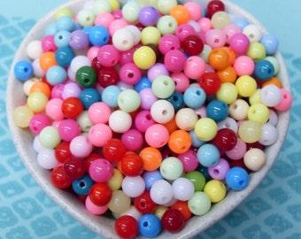 perles de Globe 300 x 6mm minuscule coloré résine Multi couleur
