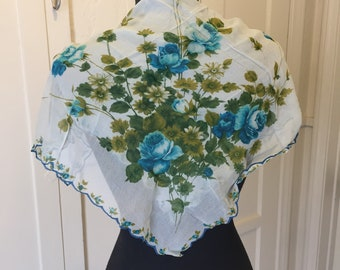Blue Floral Scarf, Vintage Sheer Nylon Scarf, Blue Green Gray Chiffon Scarf, Blue Roses, 50's 60's Rockabilly, Pin Up, Vegan Scarf