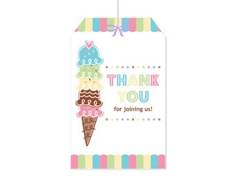 50% Off Sale! - PRINTABLE Pastel ice Cream Party Hang Tags - INSTANT DOWNLOAD