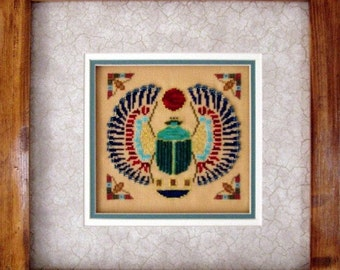 """Ancient Egyptian Cross Stitch Instant Download PDF Pattern """"Scarab"""" Counted Beaded Embroidery Design Historical Art X Stitch DIY Home Decor"""