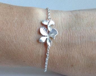 Bridesmaid bracelet, Silver Orchid Bracelet
