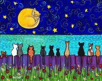 Full Moon Cats , cat in moon, kittens, ocean, fence, from painting by Shelagh Duffett