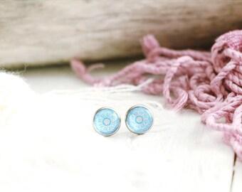 Alhana stud earrings, graphic pattern, turquoise, stainless steel base 10 mm, Arabian Nights, for women