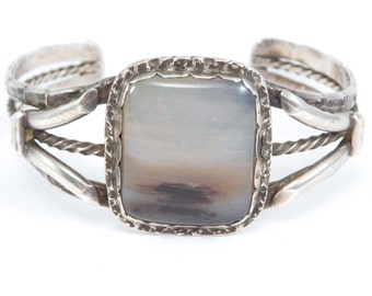 Harvey Era Silver Navajo Petrified Wood Cuff Bracelet