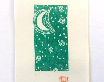 mini linocut - MOON // 4x6 art // printmaking // block print // green // celestial // stars // moonlight // original // small // miniature