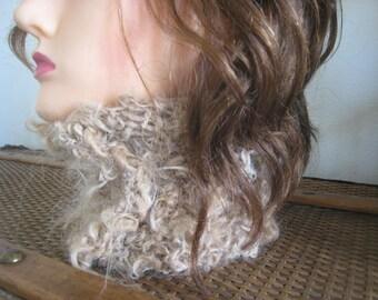 Handspun Alpaca Cowl Head Band Hand Knit Ear Warmer Neck Warmer Soft Natural Fawn Alpaca Ear Muff Fits Most Stretchy Knit Scarf Hat Wideband