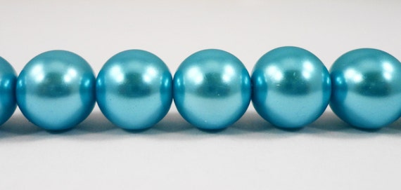 "Crystal Pearl Beads 10mm Round Turquoise Blue Pearl Beads, Glass Pearl Beads, Imitation Pearl Beads on a 7 1/4"" Strand with 20 Beads"