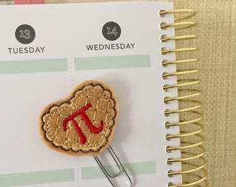 Pi Day planner clip - cherry pie bookmark - planner accessories - lattice crust feltie - math geek felt paperclip - planner paperclip