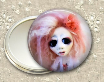 gothic doll pocket mirror,  original art  hand mirror, mirror for purse, bridesmaid gift, stocking stuffer MIR-AD57